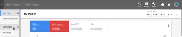 "sectiunea ""Campaigns"" din Google AdWords"