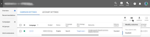 Modfy columns - Google AdWords