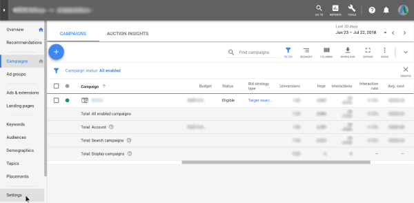 Settings - Google AdWords
