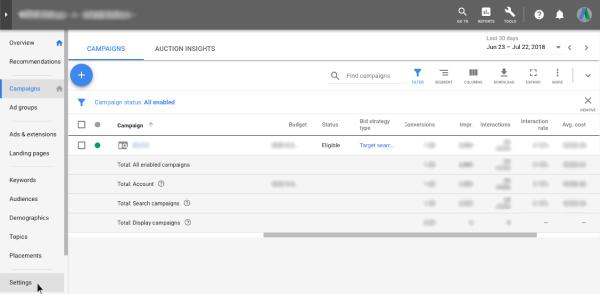 Settings - Google AdWords