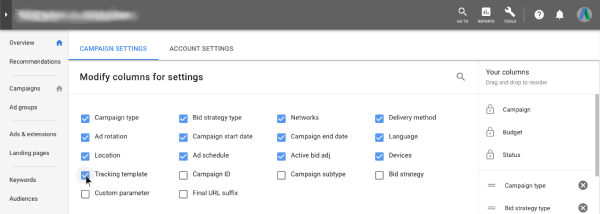 Tracking Template - Google AdWords